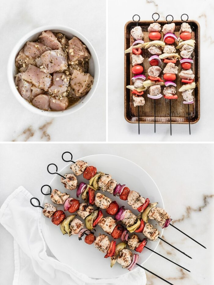How to make mediterranean chicken kabobs.