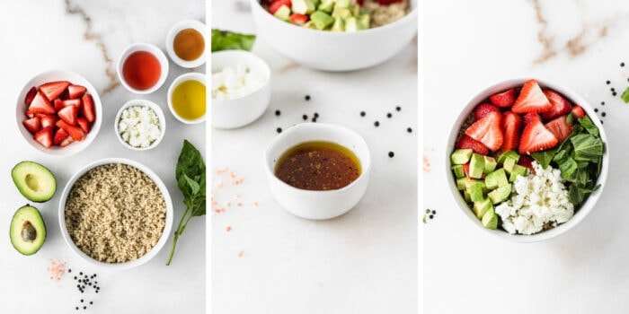 three image collage showing steps for making Strawberry Avocado Quinoa Salad.