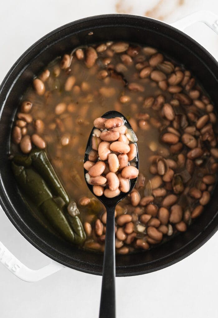 overhead view of a black spoon lifting pinto beans from a pot of beans.