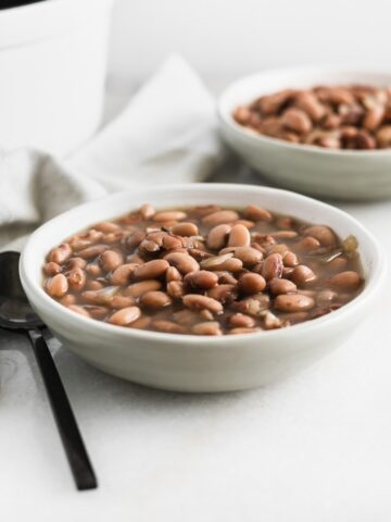 pinto beans a grey bowl with a black spoon beside it.