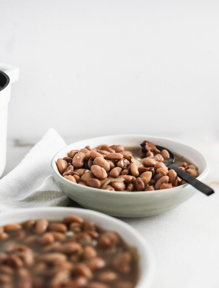 pinto beans in a grey bowl with a black spoon in it with another bowl of beans in the foreground.