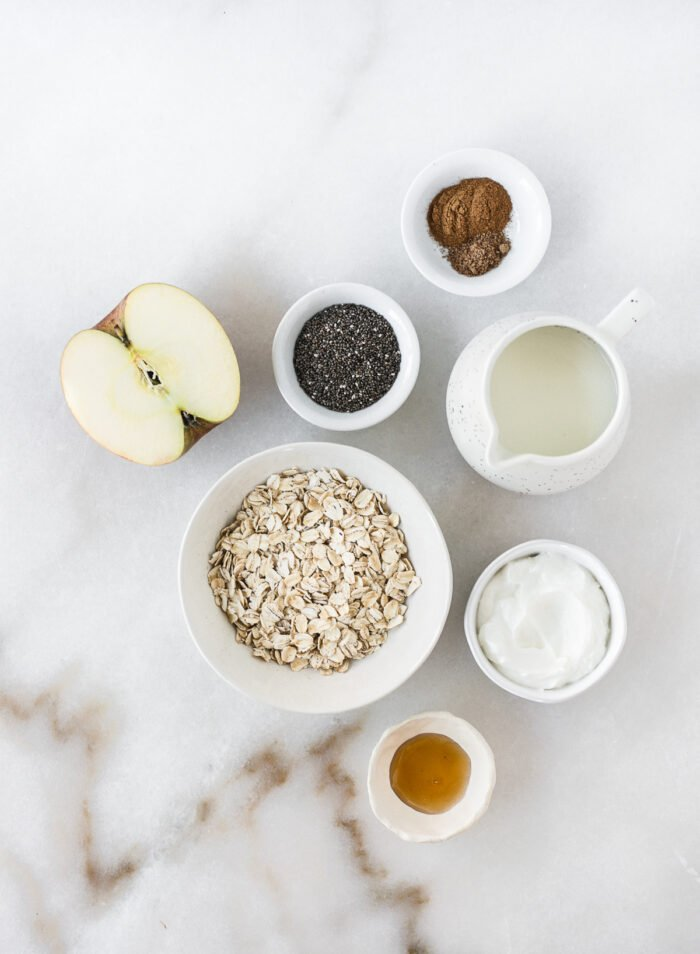 overhead view of ingredients needed to make apple pie overnight oats.