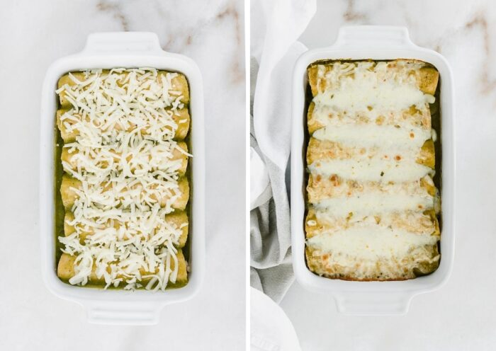 two side by side images showing an overhead view of unbaked enchiladas in a white baking dish, and the baked enchiladas in a white baking dish.