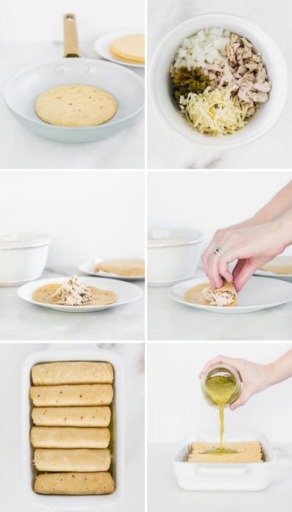 six image collage showing steps to making green chile chicken enchiladas.