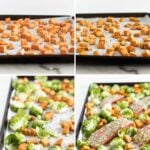 Sheet Pan Maple Dijon Salmon With Brussels Sprouts and Sweet Potatoes