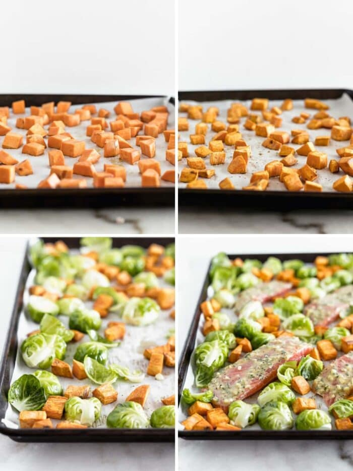 four image collage showing steps to making sheet pan salmon with brussels sprouts and sweet potatoes.