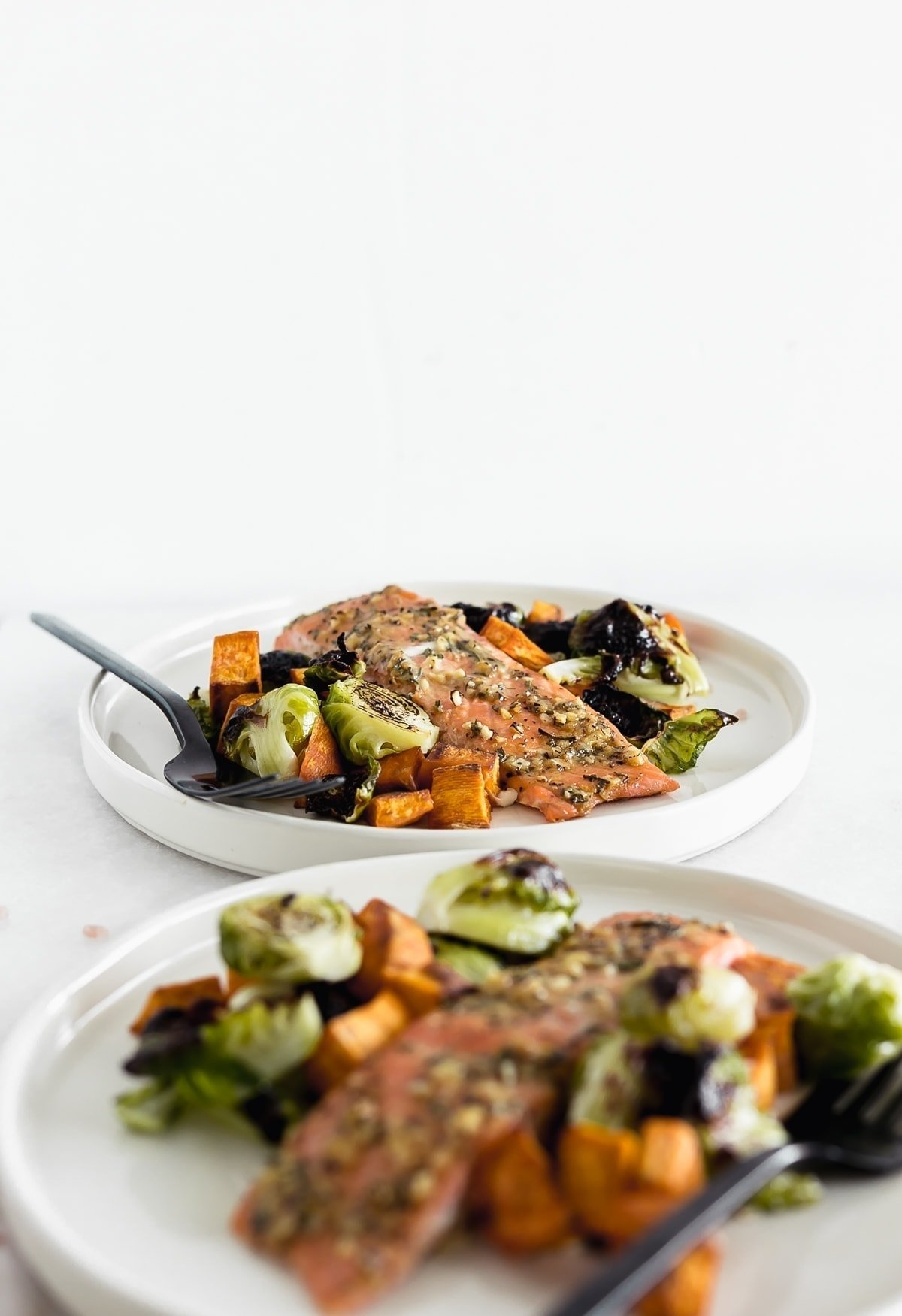 Sheet Pan Maple Dijon Salmon with Brussels Sprouts and Sweet Potatoes is an easy, healthy dinner with minimal cleanup, perfect for busy weeknights! (#glutenfree, #dairyfree) | #weeknightmeals #salmon #dinner| via livelytable.com