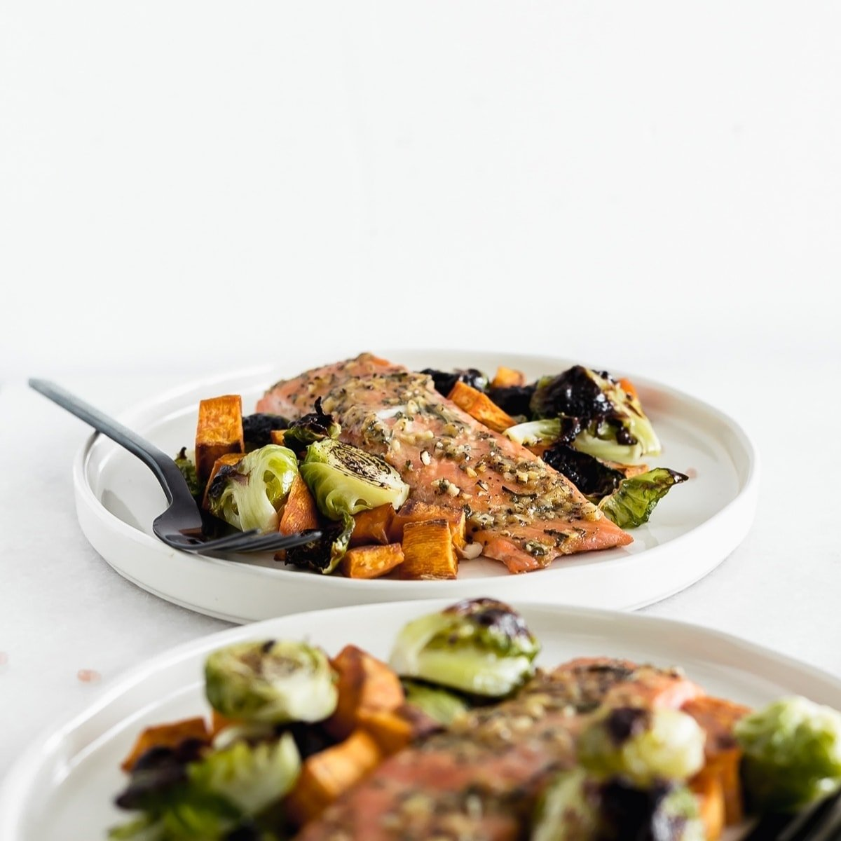 Sheet Pan Maple Dijon Salmon with Brussels Sprouts and Sweet Potatoes is an easy, healthy dinner with minimal cleanup, perfect for busy weeknights! (gluten-free, dairy-free)