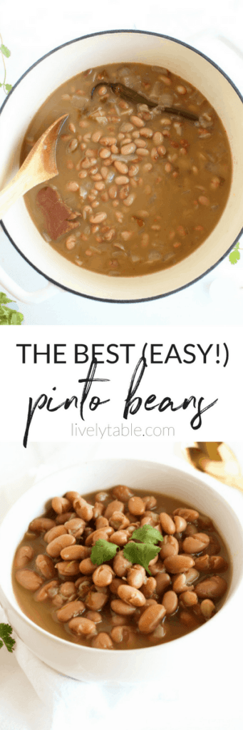 The best easy pinto beans from scratch, with stovetop and slow cooker directions. They are an easy, flavorful and healthy side dish to go with all of your Tex-Mex, Mexican, and BBQ meals, or a simple, hearty vegetarian dinner. (#glutenfree, #dairy-free, #vegetarian option) | #slowcooker #sidedishes| via livelytable.com