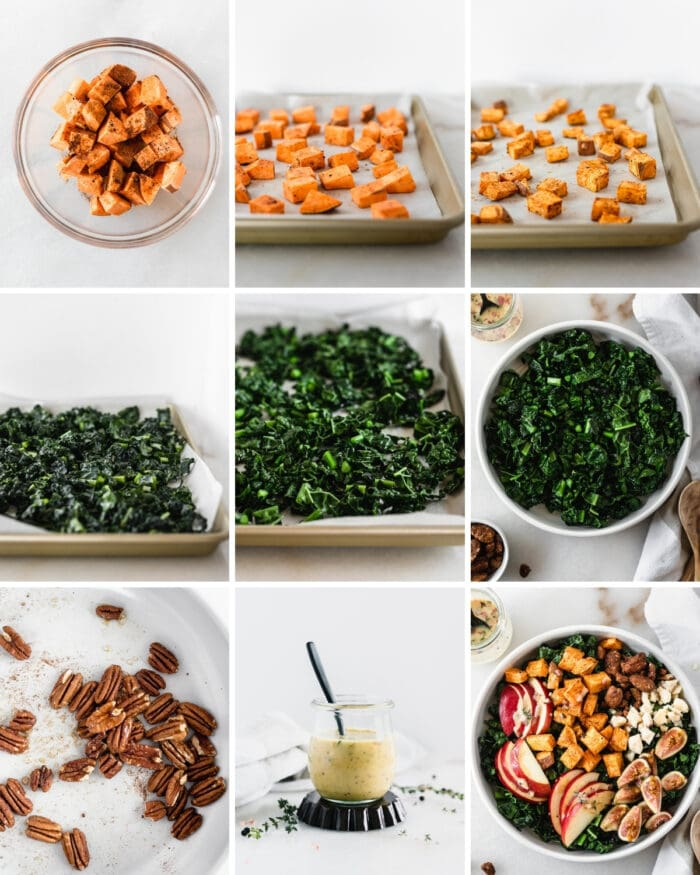 9 image collage showing steps for making roasted sweet potatoes, roasted kale, candied pecans and dressing for a warm kale salad.