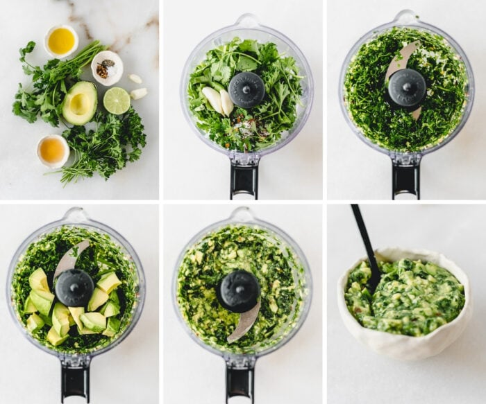 six image collage showing steps for making avocado chimichurri in a food processor.