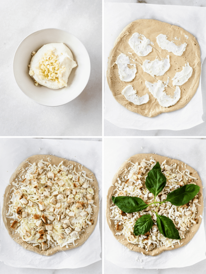 four image collage showing steps for making garlic chicken white pizza.