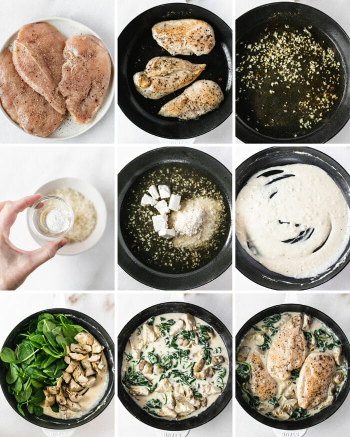9 Image collage showing steps for making spinach artichoke chicken in a cast iron skillet.