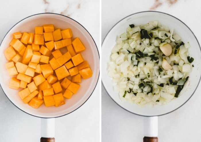 side by side images of a pot with butternut squash cubes and wit sauteed onions and sage.