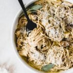 Chicken spaghetti gets a healthy fall makeover in this creamy Butternut Squash and Sage Chicken Spaghetti! (nut-free, gluten-free and vegan options)
