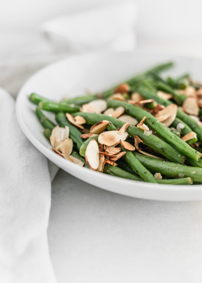 Close up of easy green beans almondine.