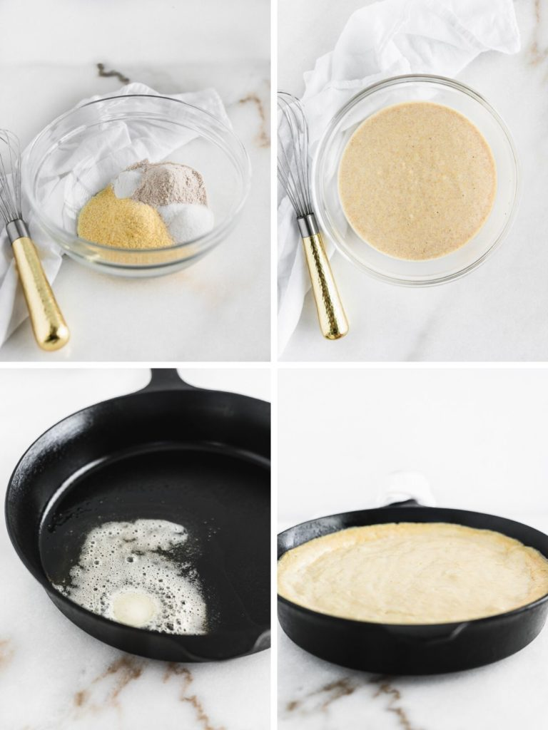 Steps on how to make healthier skillet cornbread.