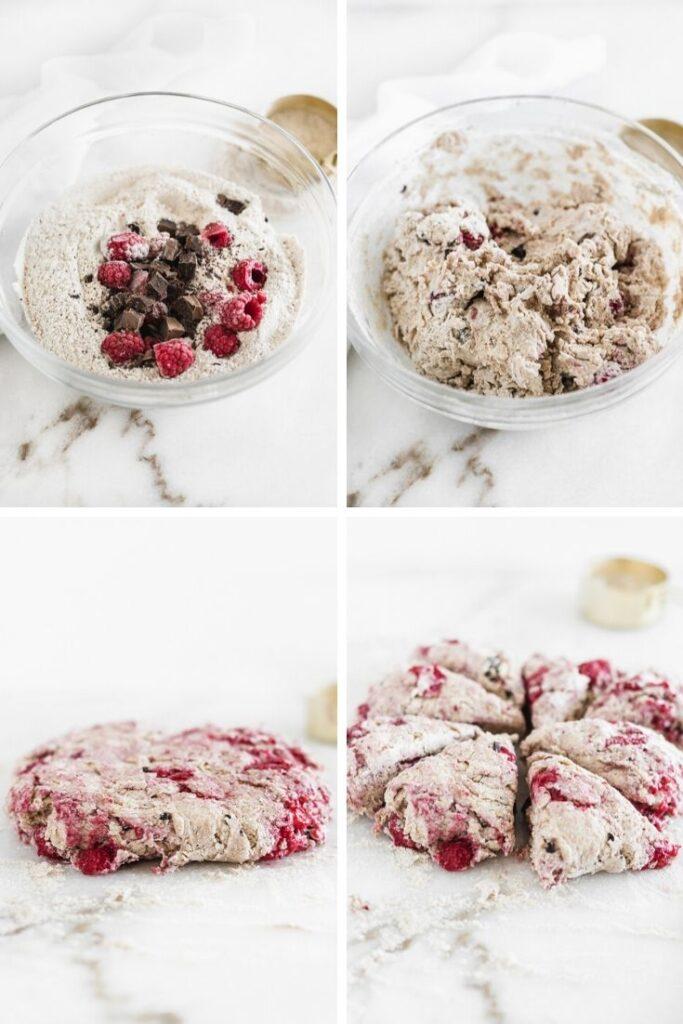 raspberry dark chocolate scone dough process