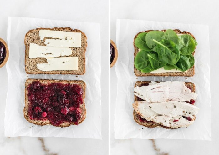 side by side images showing open faced insides of turkey cranberry brie sandwich.