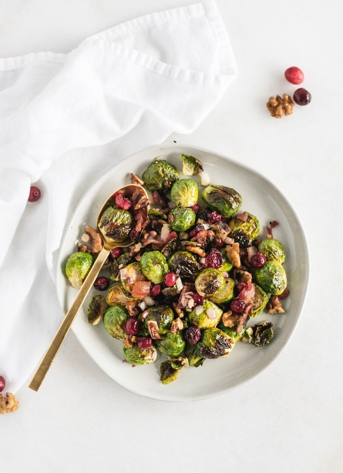 Christmas Roasted Brussels Sprouts with Bacon and Cranberries