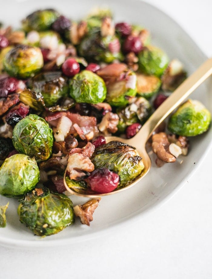 Christmas roasted brussels sprouts with bacon cranberries and walnuts