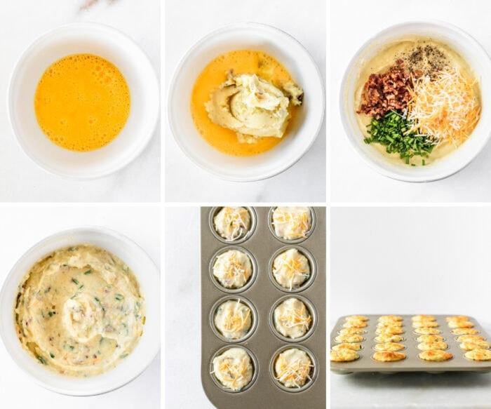 six image collage showing steps for making mashed potato bites.