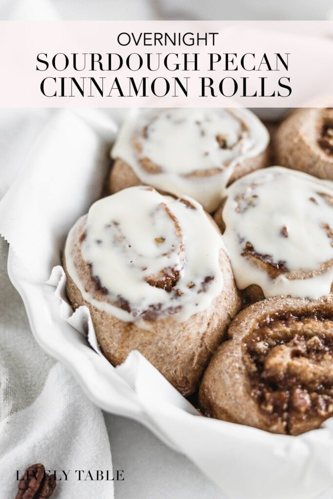 pinterest image with text for overnight sourdough pecan cinnamon rolls.