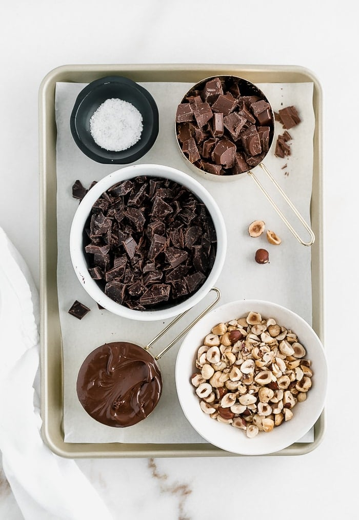 Salted Dark Chocolate and Hazelnut Bark