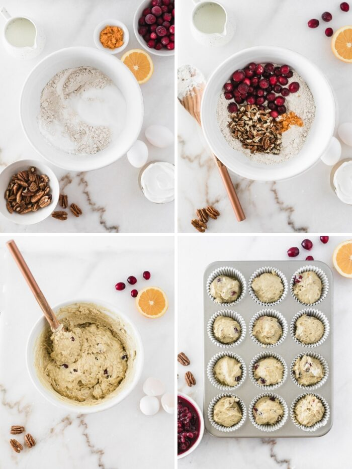 four image collage showing steps for making cranberry orange muffin batter.