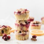 Tender cranberry orange pecan streusel muffins made with whole wheat flour are moist, flavorful and secretly healthy. They make the perfect holiday breakfast!