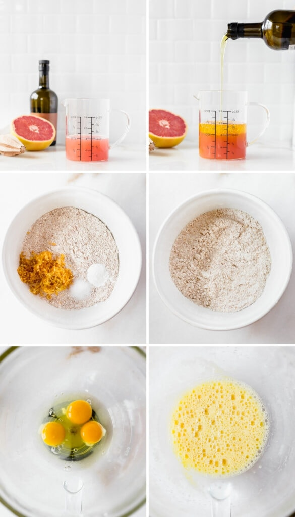 collage showing first 6 steps for making grapefruit olive oil cake.