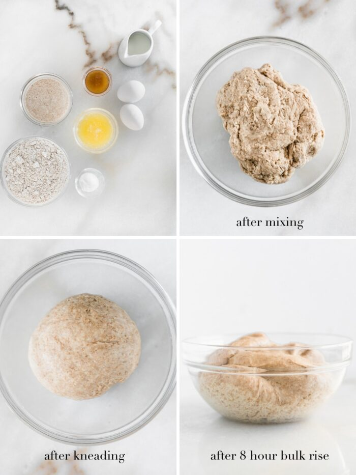 four image collage with text showing steps to making sourdough cinnamon roll dough.