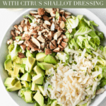 This healthy shaved brussels sprout salad with parmesan, almonds, avocado and a citrus shallot vinaigrette is the perfect addictive, hearty winter salad to go with all of your meals! (#glutenfree, #vegetarian) #brusselssprouts #salads #sidedish #healthyeating
