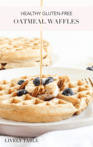 These light and fluffy, healthy gluten free oatmeal waffles are a delicious breakfast treat that's easy to whip up in the blender. Perfect for weekend mornings or to prep ahead and freeze! (#glutenfree, #nutfree, #dairyfree option) #breakfast #brunch #waffles #whoelgrain #healthy #blender