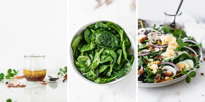 three image collage with a jar of bacon shallot dressing, a bowl of spinach tossed with dressing, and the assembled spinach salad on a grey plate.