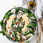 This delicious Brunch Spinach Salad Warm Bacon Dressing is a light, fresh brunch dish that will be a welcome addition to any breakfast or brunch spread! (gluten-free, dairy-free, nut-free)