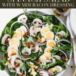 This delicious, healthy Brunch Spinach Salad with Warm Bacon Dressing with eggs, mushrooms and a warm bacon vinaigrette that slightly wilts the spinachwill be a welcome addition to any brunch spread! (#glutenfree, #dairyfree, #nutfree) #spinachsalad #healthy #brunch #bacon