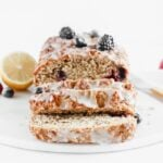 Lemon Berry Yogurt Quick Bread with lemon glaze