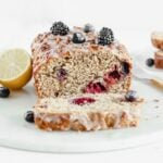 This whole wheat lemon berry yogurt quick bread is full of fruit flavor and wholesome ingredients. It's a delicious snack, breakfast or dessert! (nut-free)