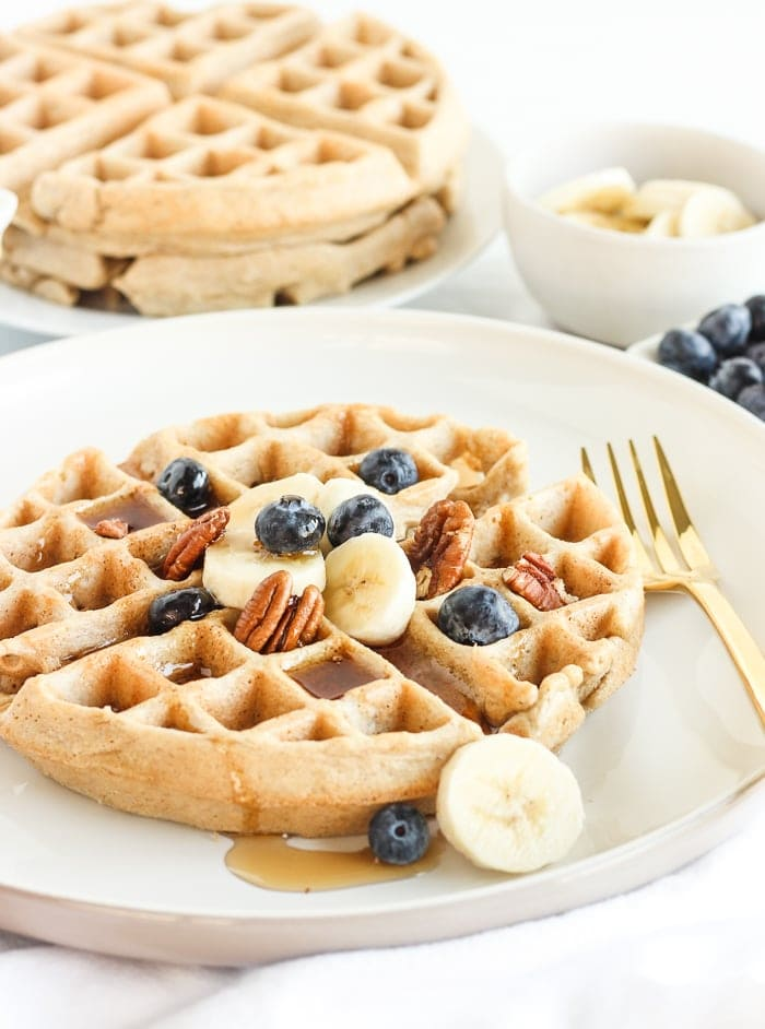 These light and fluffy, gluten-free oatmeal waffles are a healthy breakfast treat that's easy to whip up in the blender. Perfect for weekend mornings or to prep ahead and freeze! (gluten-free, nut-free, dairy-free option)