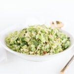 This healthy shaved brussels sprout salad with parmesan, almonds,avocado and a citrus shallot vinaigrette is the perfect hearty winter salad to go with all of your meals! (gluten-free, vegetarian