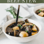 Easy Slow Cooker Rosemary Red Wine Mushroom Beef Stew is a warm, delicious, comforting meal that you'll love coming home to at the end of a cold winter day. Instant Pot Instructions included. (#glutenfree, #dairyfree, #nutfree) #slowcooker #crockpot #beef #recipes #instantpot #healthy #easy #mushrooms #dinner