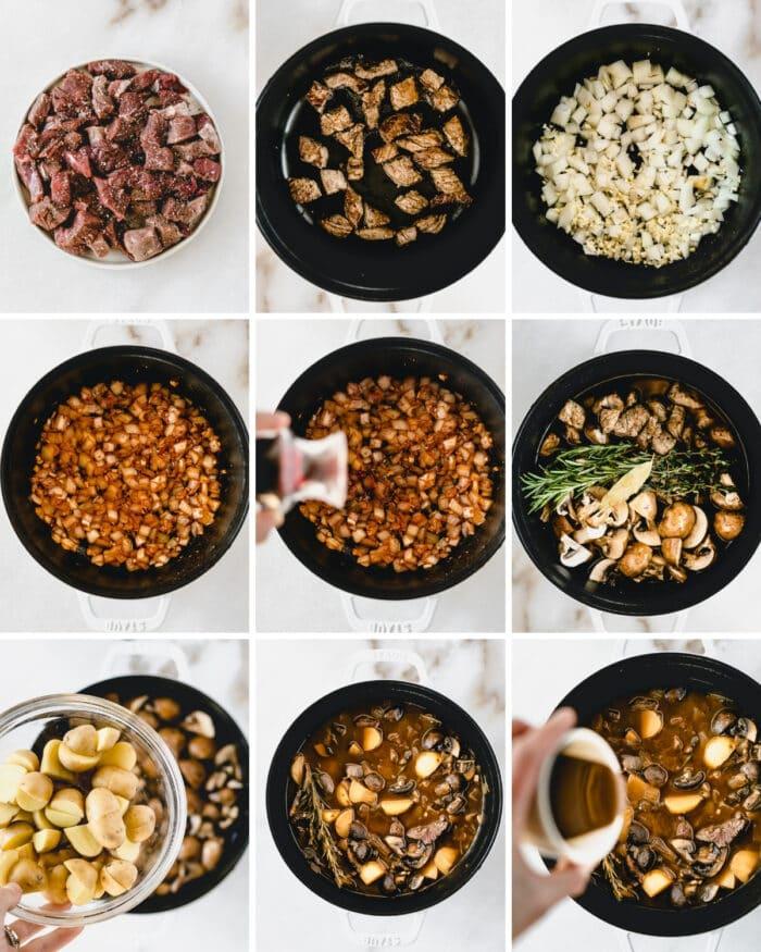 nine image collage showing steps for making mushroom beef stew.