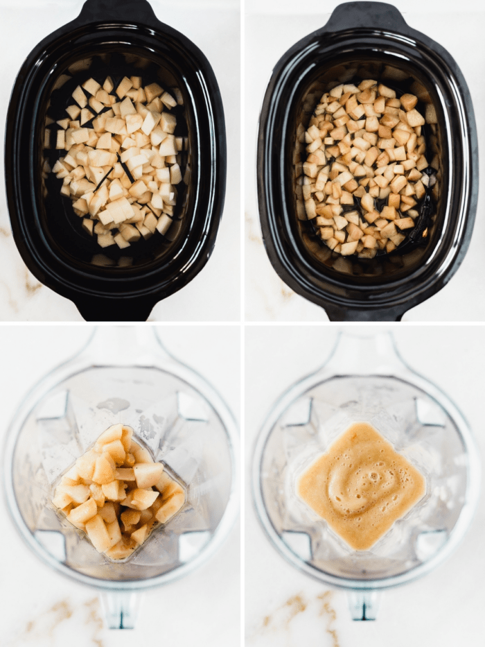 four image collage showing steps to making vanilla bean pear butter in the slow cooker and blender.