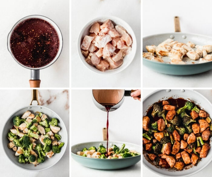 six image collage showing steps for making pomegranate ginger chicken with broccoli.