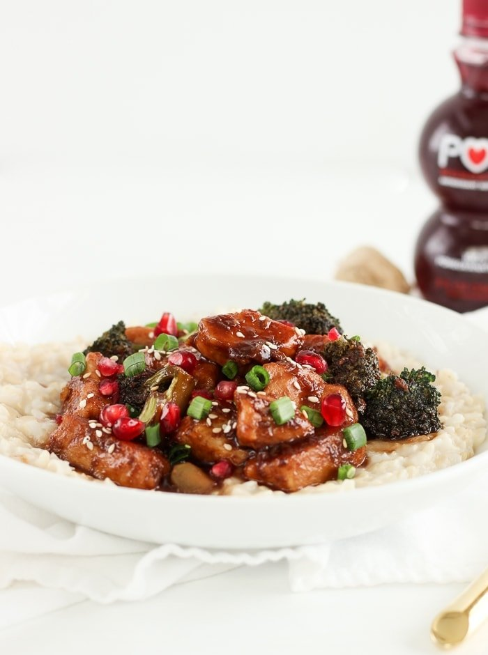 Need a healthy dinner idea? Sticky Pomegranate Ginger Chicken with Coconut Brown Rice is simple, delicious, and full of healthy antioxidants! (gluten-free, dairy-free)