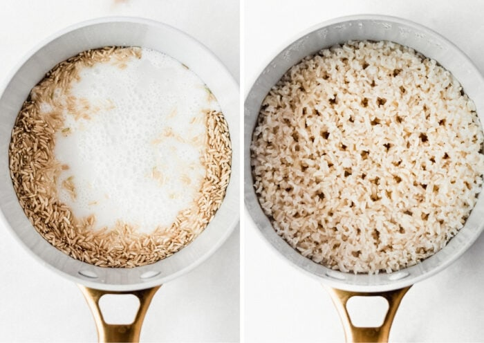 two image collage showing uncooked brown rice and coconut milk in a pot, and cooked brown rice in a pot.