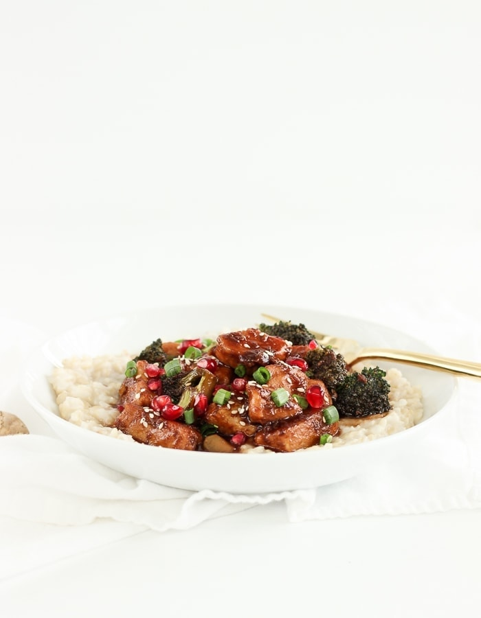 Need a healthy dinner idea? Sticky Pomegranate Ginger Chicken with Coconut Brown Rice is simple, delicious, and full of healthy antioxidants! (gluten-free, dairy-free, no added sugar)