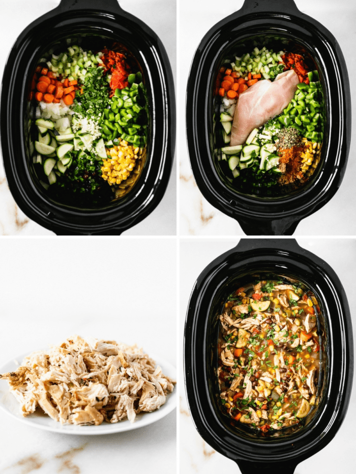 collage showing steps for making chicken tortilla soup in the crock pot.
