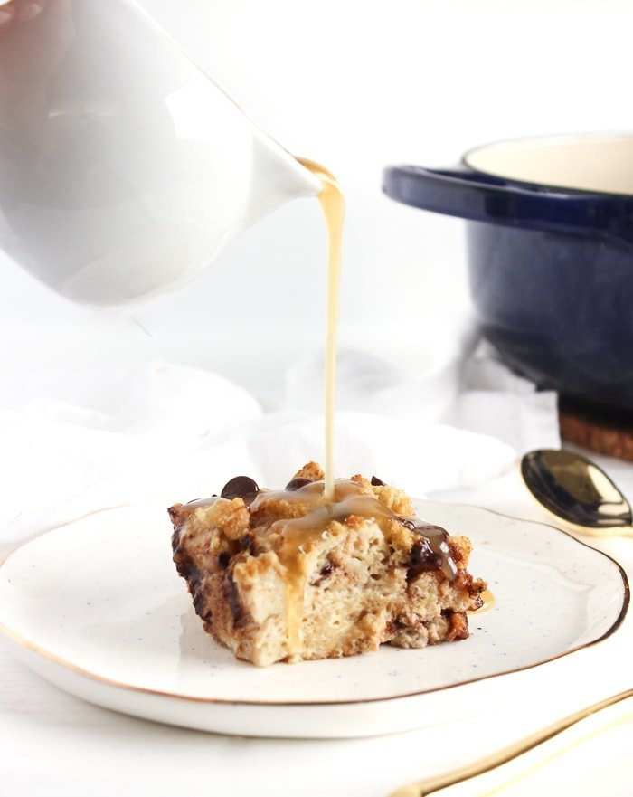 banana bourbon chocolate chip bread pudding with bourbon sauce